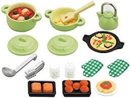 accessoire cuisine jouet sylvanian families 2938 poupées et accessoires set ustensiles