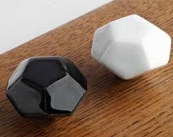 Porcelain Kitchen Cabinet Knobs by Black White Knob Etsy