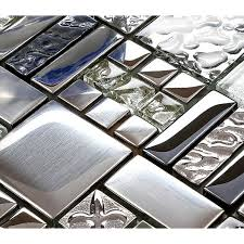 Backsplash Tiles Plated Glass Mosaic Metal Stainless Steel Crystal - Glass and metal tile backsplash