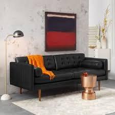Black Leather Mid Century Sofa Black Leather Sofa In Walnut Wood Finish Article Alcott Modern