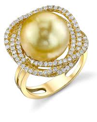 braided ring golden south sea pearl diamond braided ring laguna pearl