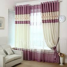 Purple Room Darkening Curtains Beige And Purple Stitching Simple Design Linen Room Darkening Curtain