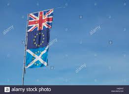Single Flag Union Jack Eu Flag And Saltire Scottish Flag On A Single