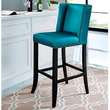 tov furniture denver blue counter stool w bronze nailhead blue