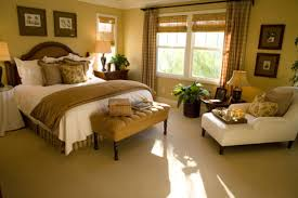 adorable master bedroom decorating ideas with bronze wall painting