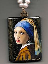 girl with the pearl earring painting handpainted russian jewelry girl with pearl earring bess