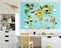Wall Stickers For Kids Rooms by Map Wall Decal Etsy