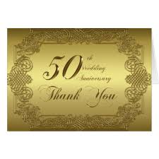 50th wedding anniversary thank you note card zazzle