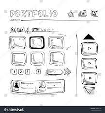 wireframe ui kit web design portfolio stock vector 290851184