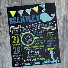 birthday signing board nautical birthday sign whale chalkboard the sea