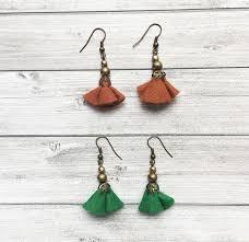 felt earrings floral felt earrings dangle and drop set of 2 earrings brass