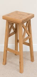 Wooden Breakfast Bar Stool Cross Bar Stool 196 Solid American Oak Timber Seat Stools