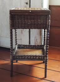 antique lidded wicker sewing basket stand heywood wakefield