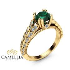 gold emerald engagement rings leaves emerald engagement ring 14k yellow gold emerald ring leaves