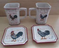 Nice Coffee Cups by Nice Set 2 Rooster Tea Coffee Cups 4 Mini Plates Mww Market