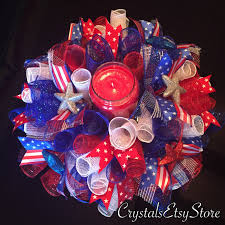 mesh ribbon table decorations 17 patriotic 4th of july centerpiece candle holder red white