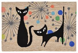 Cat Area Rugs Liora Manne Atomic Cat Neutral Area Rug Midcentury Novelty
