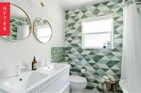 before u0026 after graphic green tile totally transforms a dated bath