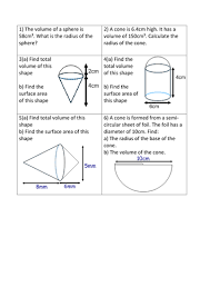 maths area u0026 volume of pyramids cones worksheet by sbinning