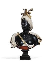 a pair of gilt bronze mounted carved marble busts of a and