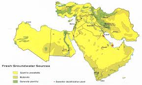 middle east map water bodies maps