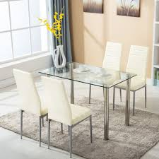 Dining Room Tables Set 5pc Glass Dining Table With 4 Chairs Set Glass Metal Kitchen