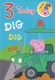 peppa pig age 3 george birthday card with badge cardspark
