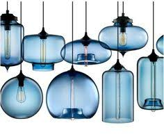 Blue Glass Pendant Light Blown Modern Glass Pendant Lighting In Crimson Kitchen