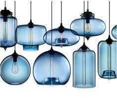 blown modern glass pendant lighting in crimson kitchen Blue Glass Pendant Light
