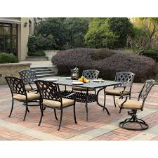 Outdoor Dining Set With Bench Belham Living San Miguel Cast Aluminum 7 Piece Patio Dining Set