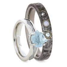 Opal Wedding Ring by Gemstone Wedding Ring Set Rough Aquamarine Engagement Ring