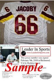 joe jacoby autographed white jersey washington redskins double