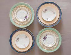 Shabby Chic Plates by Set Of 24 Mismatched Porcelain Dinner Plates Mismatched Porcelain