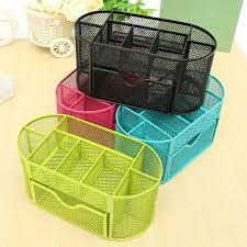 Mesh Desk Organizer Metal Mesh Desk Organizer Pen Holder Oval 9 Grid Colorful Desktop