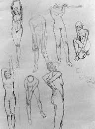 live model drawings sketches warm up exersizes and poses