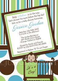 baby shower monkey mod monkey boys green teal baby shower invitation printable just