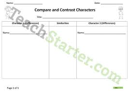 compare and contrast characters worksheet teaching resource