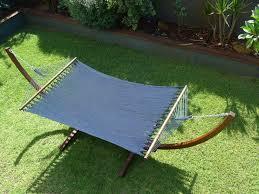 luxurious wooden arc hammock with caribbean navy blue super soft