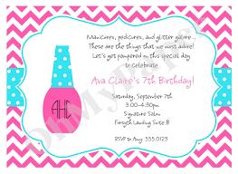 Salon Invitation Card Girls Manicure Party Invitations