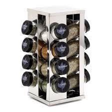 Revolving Spice Rack 20 Jars Kamenstein 16 Jar Stainless Steel Tower Spice Rack Hayneedle