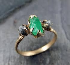 www weddingring lk three diamond emerald engagement ring 14k gold wedding
