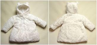 baby girls faux fur rose bud satin bow hooded coat winter white