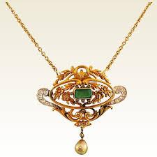 antique emerald necklace images Antique emerald pearl diamond gold pendant jan bardine fine jpg