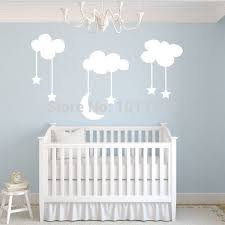 sticker cartoon picture more detailed picture about moon stars moon stars baby nursery vinyl wall stickers large 220 140cm white sky blue moon