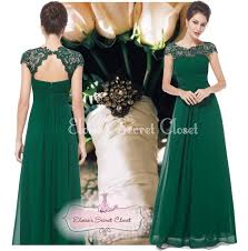 katie emerald green lace bridesmaid evening ballgown dress sizes