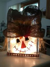 scarecrow snowman lighted glass block decoration ebay fall