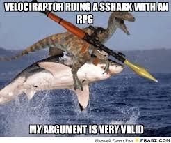 Dinosaur Meme Generator - velociraptor rding a sshark with an rpg dinosaur on shark