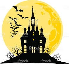 halloween view of castle moon bats and hill silhouette