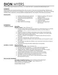 Training Resume Examples by Unforgettable Babysitter Resume Examples To Stand Out