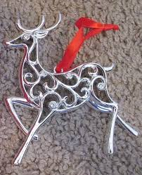 lenox silverplate reindeer ornament sparkle and scroll nib new